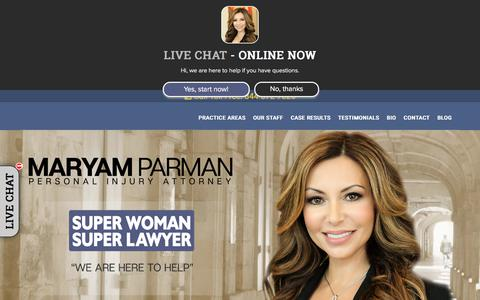 Screenshot of Home Page maryamparman.com - Super Woman Super Lawyer Maryam Parman – Maryam Parman Personal Injury Attorney - captured July 26, 2018