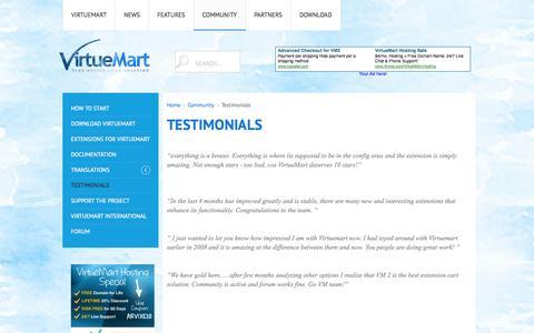Screenshot of Testimonials Page virtuemart.net - Testimonials - captured Oct. 29, 2014