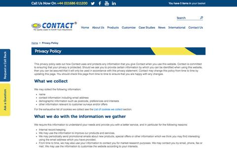 Screenshot of Privacy Page forklift-attachments.co.uk - Privacy Policy - captured Oct. 3, 2014