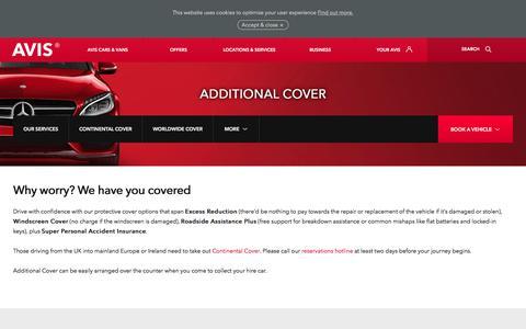 Screenshot of avis.co.uk - Avis cover options include zero excess and windscreen damage - captured July 16, 2017