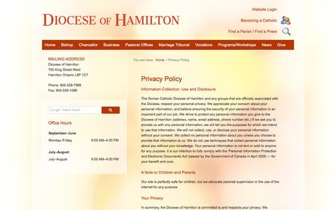 Screenshot of Privacy Page hamiltondiocese.com - Contact Us | Diocese of Hamilton | Hamilton Ontario Canada - captured Feb. 21, 2016