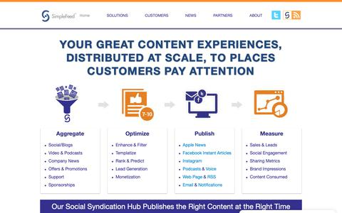 Screenshot of Home Page simplefeed.com - SimpleFeed - Mobile and Social Syndication for Brands & Media - captured Oct. 20, 2018