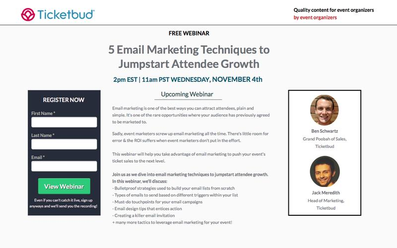 Ticketbud Webinars: 5 Email Marketing Techiques to Jumpstart Attendee Growth