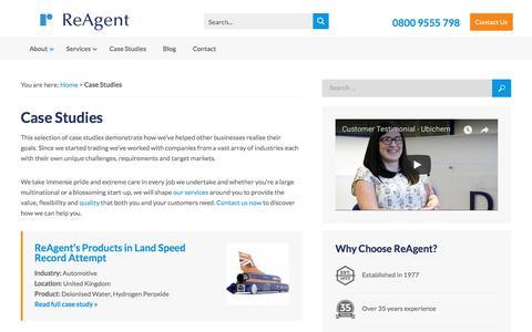 Screenshot of Case Studies Page reagent.co.uk - Explore ReAgent's Case Studies & Spotlights | Customer Success Stories - captured Sept. 20, 2018