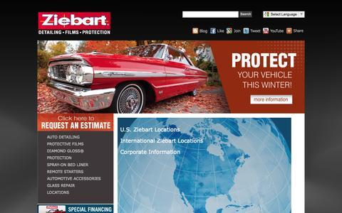 Screenshot of Home Page ziebart.com - Ziebart - Home - captured Sept. 25, 2014