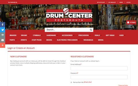 Screenshot of Login Page drumcenternh.com - Customer Login | Drum Center of Portsmouth - captured Oct. 13, 2017