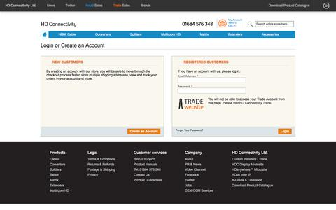 Screenshot of Login Page hdconnectivity.com - Customer Login - captured Sept. 26, 2014