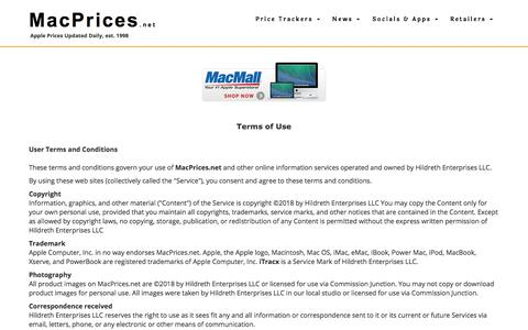 Screenshot of Terms Page macprices.net - MacPrices.net Terms of Use - captured Sept. 23, 2018