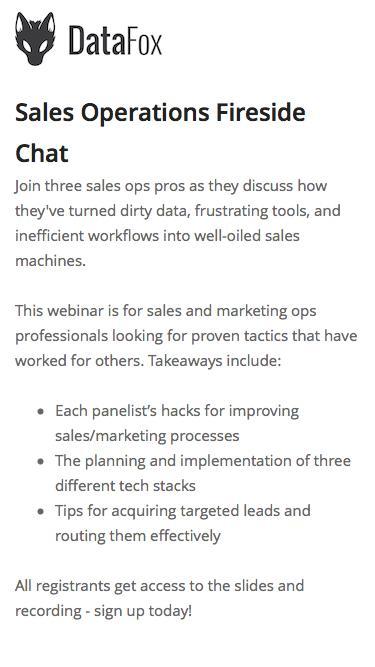Screenshot of Landing Page  datafox.com - Sales Operations Fireside Chat webinar