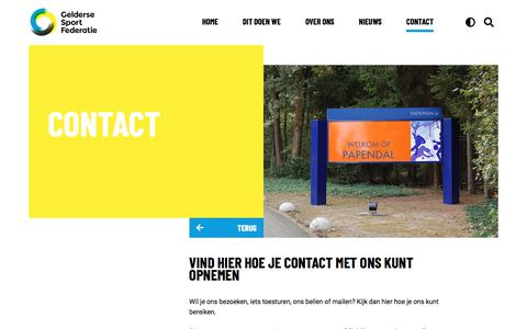 Screenshot of Contact Page geldersesportfederatie.nl - Contact - Gelderse sport federatie - captured July 16, 2018