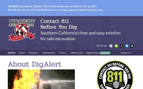Screenshot of About Page digalert.org - DigAlert.org - About DigAlert | California's Underground Utility Location Services - captured April 10, 2017