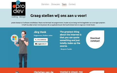Screenshot of Team Page prodev.nl - Team - captured Sept. 20, 2017