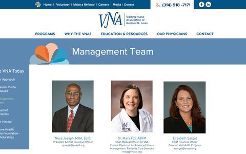 Screenshot of Team Page vnastl.com - Management Team | Visiting Nurse Association of Greater St. Louis - captured Nov. 15, 2018