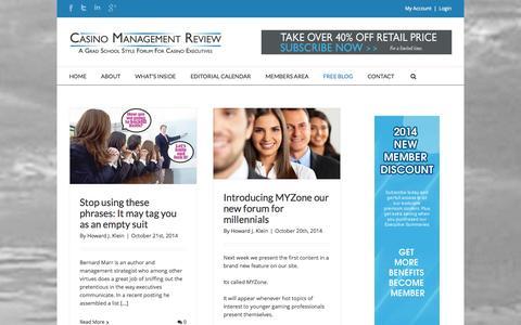 Screenshot of Blog casinomanagementreview.com - Blog | Casino Management Review - captured Oct. 27, 2014