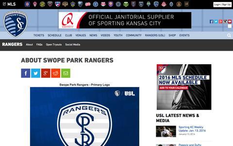 Screenshot of About Page sportingkc.com - About Swope Park Rangers | Sporting Kansas City - captured Jan. 14, 2016