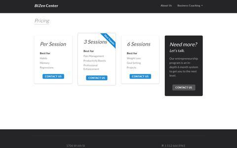 Screenshot of Pricing Page bizencenter.com - BIZen Center - captured Dec. 9, 2018