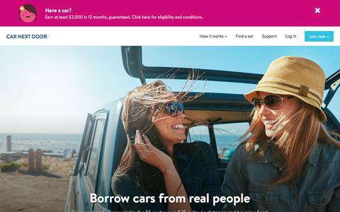 Screenshot of Home Page carnextdoor.com.au - Car share Sydney Melbourne Brisbane | Van & car hire | Rent out your car | Car Next Door - captured Aug. 1, 2017