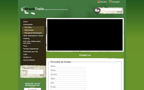 Screenshot of Contact Page braziltrails.com - Contact us - Brazil Trails - captured Oct. 5, 2014