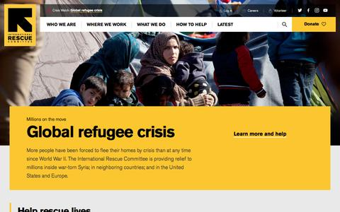Screenshot of Home Page rescue.org - International Rescue Committee (IRC) - captured June 29, 2016