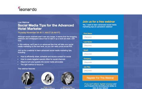 Screenshot of Landing Page leonardo.com - Webinar: Social Media Tips for the Advanced Hotel Marketer - captured April 21, 2016