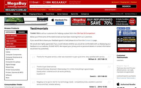 Screenshot of Testimonials Page megabuy.com.au - Testimonials | MegaBuy Computer Parts - captured Oct. 29, 2017