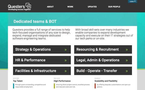 Screenshot of Services Page questers.com - Work | Questers - captured July 14, 2018