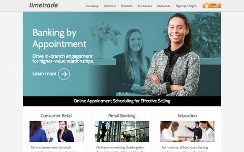 Screenshot of Home Page timetrade.com - Online Appointment Scheduling Software   Online Scheduling Solutions - captured Sept. 17, 2014