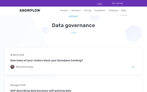 Screenshot of Blog snowplowanalytics.com - Blog – Data Governance - captured Feb. 10, 2020