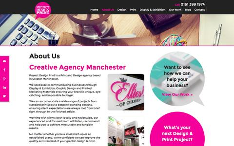 Screenshot of About Page projectdesignprint.co.uk - About Us - Creative Agency Manchester - Project Design Print - captured Feb. 1, 2016