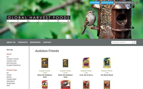 Screenshot of Products Page ghfoods.com - Global Harvest Foods  	     	   | Products - captured Jan. 29, 2016