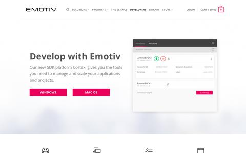 Screenshot of Developers Page emotiv.com - Developers - Emotiv - captured May 23, 2018