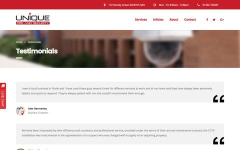 Screenshot of Case Studies Page Testimonials Page uniquefireandsecurity.co.uk - Testimonials » Unique Fire & Security Reviews » Installers in Poole Dorset - captured Dec. 10, 2016