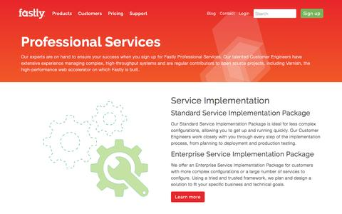 Screenshot of fastly.com - Professional services | Fastly - captured April 20, 2017