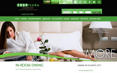 Screenshot of tropicana.net - Tropicana Casino & Resort | Atlantic City Room Service - captured March 20, 2016