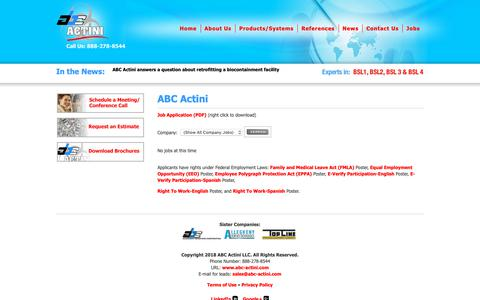 Screenshot of Jobs Page abc-actini.com - ABC Actini LLC, The experts in biowaste decontamination systems, growth media sterilization, precise aseptic process controls, PLC controlled - ABC Actini LLC - ABC Actini - captured Oct. 2, 2018