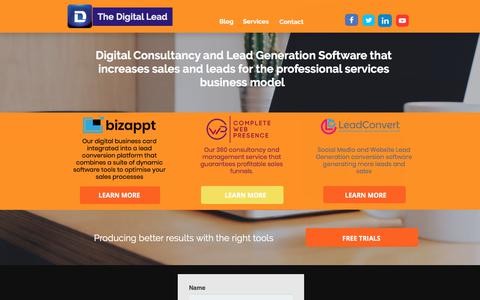 Screenshot of Home Page thedigitallead.com - The Digital Lead - Digital Consultancy and Lead Generation Software To Increase Sales and Leads - captured Sept. 20, 2018