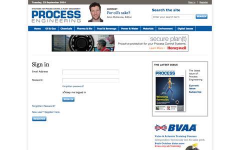 Screenshot of Login Page theengineer.co.uk - Process Engineering - captured Sept. 23, 2014