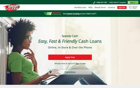 Screenshot of Home Page speedycash.com - Loans from $50 - $26,000 | Speedy Cash - captured Feb. 12, 2020