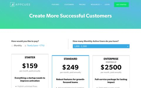 Screenshot of Pricing Page appcues.com - Pricing   Appcues - captured Aug. 17, 2017