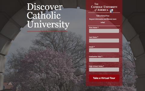Screenshot of Landing Page cua.edu - The Catholic University of America | Discover The Catholic University of America - captured April 26, 2017