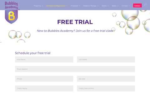 Screenshot of Trial Page bubblesacademy.com - Free Trial - Bubbles Academy - captured Aug. 4, 2018