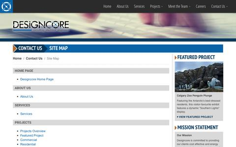 Screenshot of Site Map Page designcore.ca - Designcore Engineering Ltd. - Contact Us: Site Map - captured Nov. 24, 2016