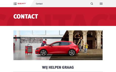 Screenshot of Contact Page seat.nl - Contact - SEAT Nederland - captured Nov. 2, 2014
