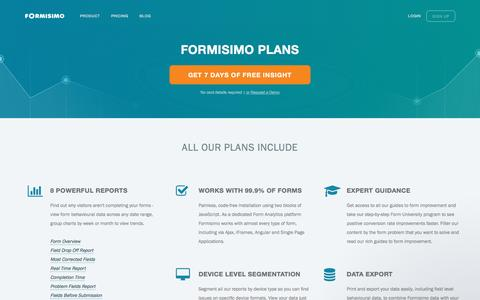 Screenshot of Pricing Page formisimo.com - Formisimo Plans and Pricing | Form Analytics - captured March 5, 2017