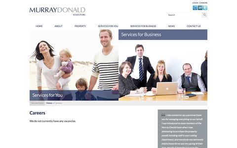 Screenshot of Jobs Page murraydonald.co.uk - Careers   Murray Donald   Solicitors & Estate Agency   St Andrews, Fife - captured Oct. 7, 2014