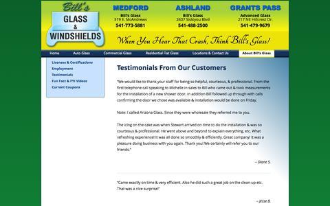 Screenshot of Testimonials Page billsglass.com - Testimonials from Our Customers - Bill's Glass serving Medford, Ashland & Grants Pass - captured Oct. 5, 2014