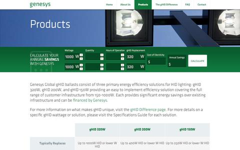 Screenshot of Products Page lightrecreated.com - Genesys Global - captured June 17, 2015