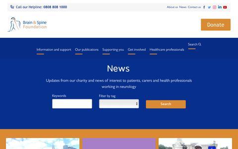 Screenshot of Press Page brainandspine.org.uk - Brain & Spine Foundation | News - captured Oct. 6, 2018