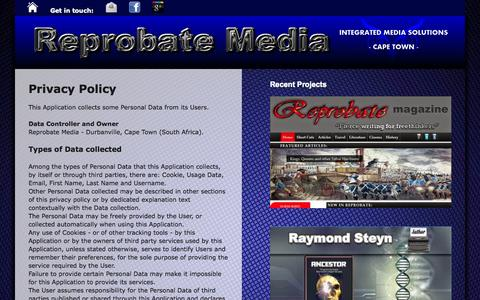 Screenshot of Privacy Page reprobatemedia.com - Reprobate Media: Privacy Policy - captured Oct. 26, 2014
