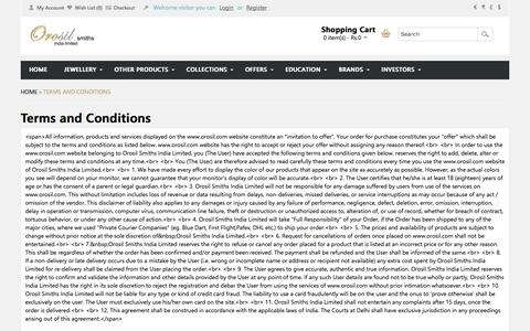 Screenshot of Terms Page orosil.com - Terms and Conditions - captured Oct. 9, 2014